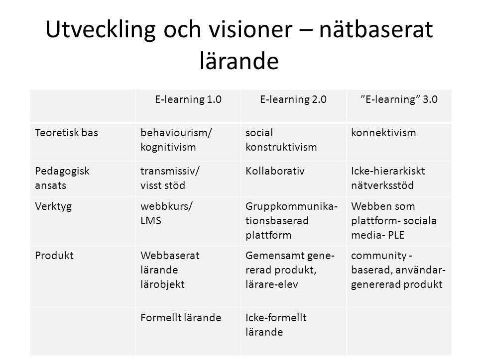 Utveckling och visioner – nätbaserat lärande E-learning 1.0E-learning 2.0 E-learning 3.0 Teoretisk basbehaviourism/ kognitivism social konstruktivism konnektivism Pedagogisk ansats transmissiv/ visst stöd KollaborativIcke-hierarkiskt nätverksstöd Verktygwebbkurs/ LMS Gruppkommunika- tionsbaserad plattform Webben som plattform- sociala media- PLE ProduktWebbaserat lärande lärobjekt Gemensamt gene- rerad produkt, lärare-elev community - baserad, användar- genererad produkt Formellt lärandeIcke-formellt lärande