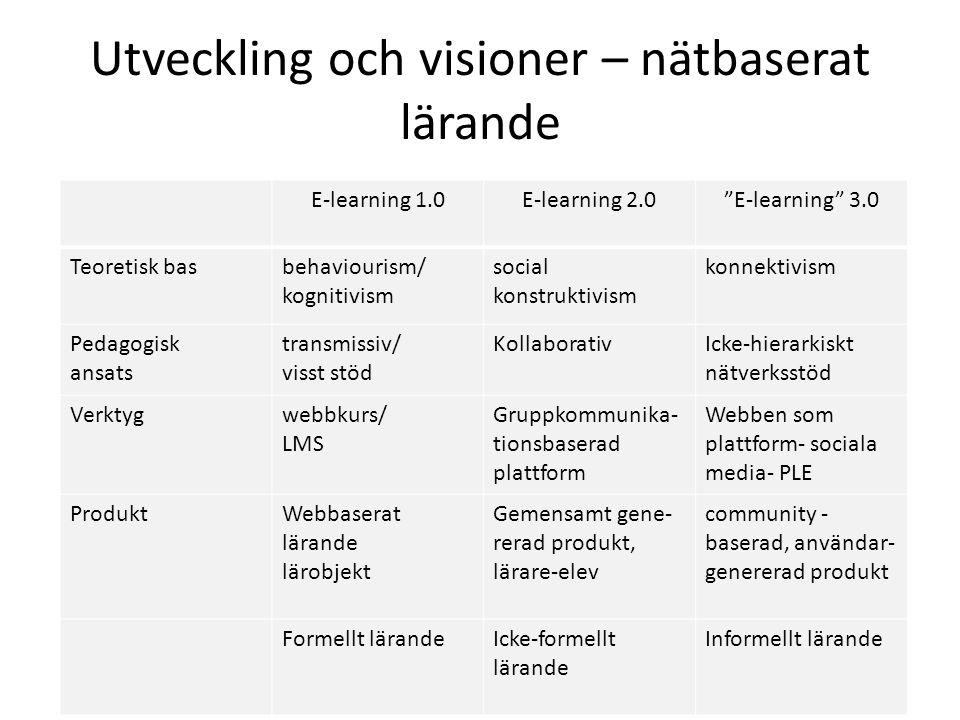Utveckling och visioner – nätbaserat lärande E-learning 1.0E-learning 2.0 E-learning 3.0 Teoretisk basbehaviourism/ kognitivism social konstruktivism konnektivism Pedagogisk ansats transmissiv/ visst stöd KollaborativIcke-hierarkiskt nätverksstöd Verktygwebbkurs/ LMS Gruppkommunika- tionsbaserad plattform Webben som plattform- sociala media- PLE ProduktWebbaserat lärande lärobjekt Gemensamt gene- rerad produkt, lärare-elev community - baserad, användar- genererad produkt Formellt lärandeIcke-formellt lärande Informellt lärande
