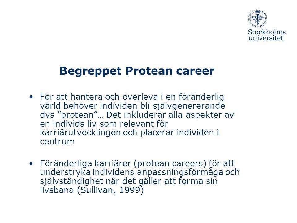 Begreppet Protean career För att hantera och överleva i en föränderlig värld behöver individen bli självgenererande dvs protean … Det inkluderar alla aspekter av en individs liv som relevant för karriärutvecklingen och placerar individen i centrum Föränderliga karriärer (protean careers) för att understryka individens anpassningsförmåga och självständighet när det gäller att forma sin livsbana (Sullivan, 1999)