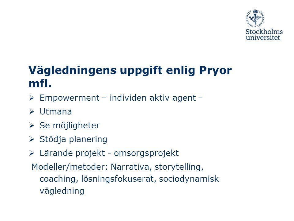 Vägledningens uppgift enlig Pryor mfl.  Empowerment – individen aktiv agent -  Utmana  Se möjligheter  Stödja planering  Lärande projekt - omsorg