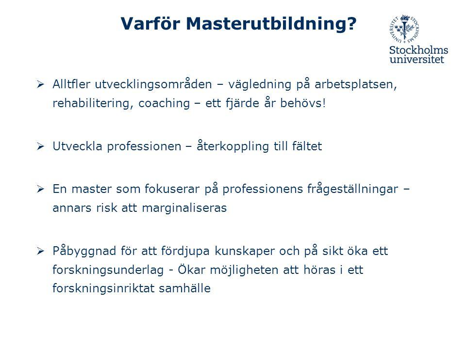 Varför Masterutbildning?  Alltfler utvecklingsområden – vägledning på arbetsplatsen, rehabilitering, coaching – ett fjärde år behövs!  Utveckla prof