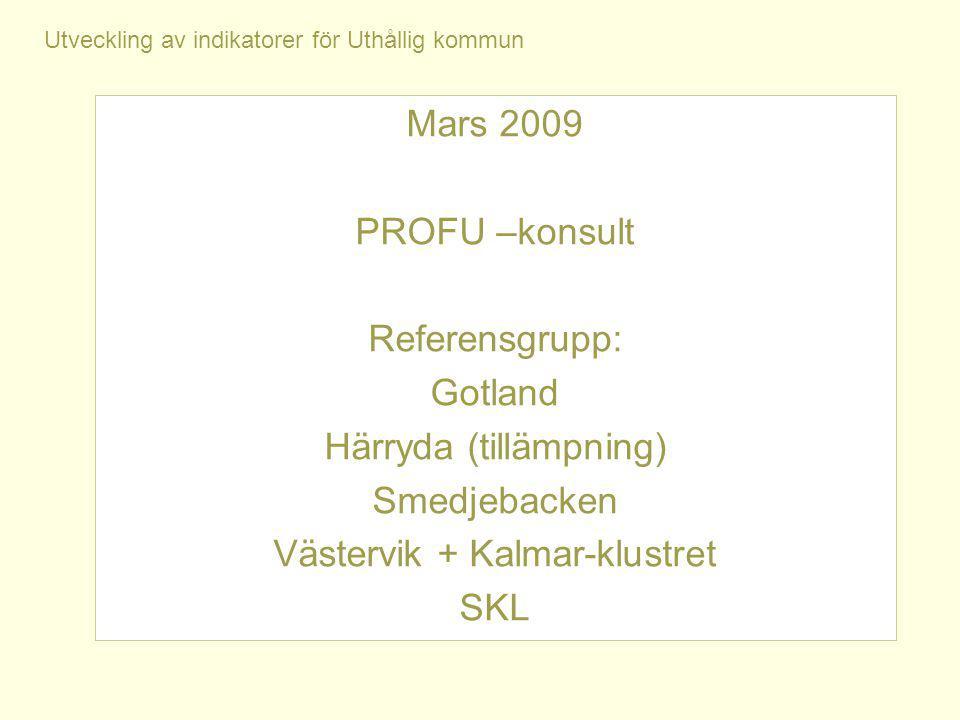 Utveckling av indikatorer för Uthållig kommun Mars 2009 PROFU –konsult Referensgrupp: Gotland Härryda (tillämpning) Smedjebacken Västervik + Kalmar-klustret SKL