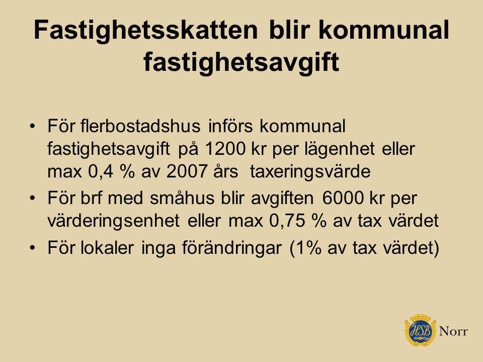 Fastighetsskatten blir kommunal fastighetsavgift För flerbostadshus införs kommunal fastighetsavgift på 1200 kr per lägenhet eller max 0,4 % av 2007 å