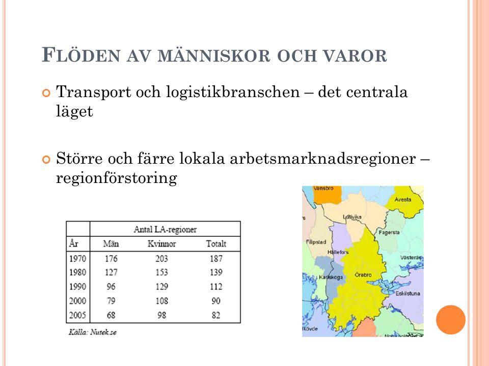 F LÖDEN AV MÄNNISKOR OCH VAROR Transport och logistikbranschen – det centrala läget Större och färre lokala arbetsmarknadsregioner – regionförstoring