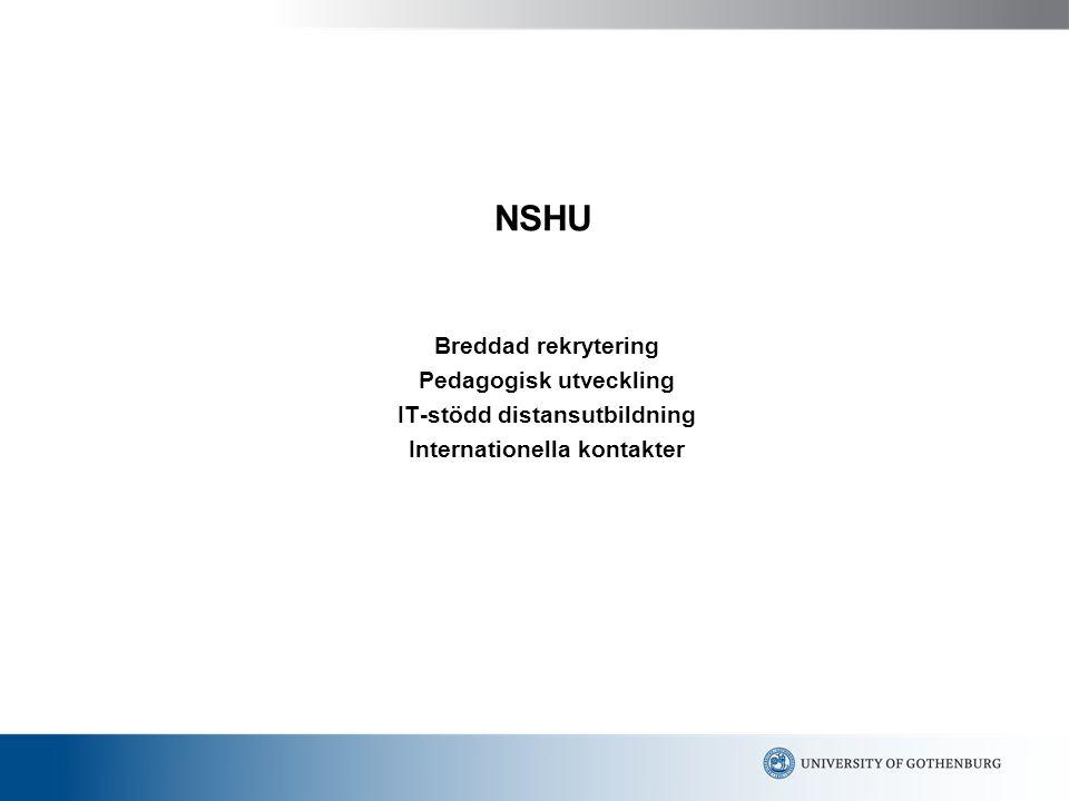 NSHU Breddad rekrytering Pedagogisk utveckling IT-stödd distansutbildning Internationella kontakter