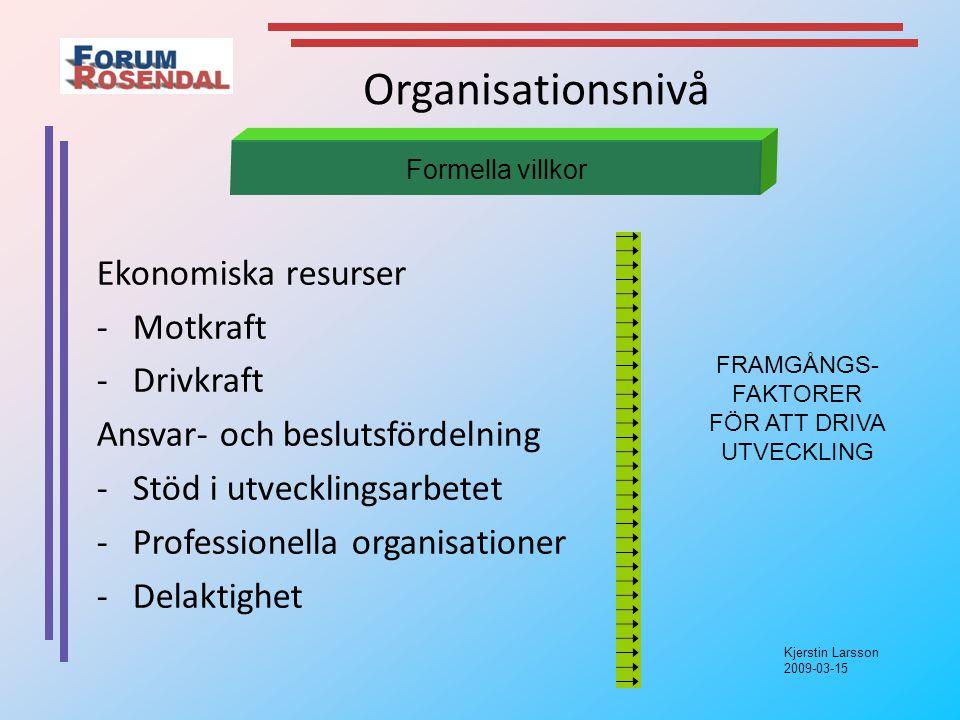 Kjerstin Larsson 2009-03-15 Organisationsnivå Ekonomiska resurser -Motkraft -Drivkraft Ansvar- och beslutsfördelning -Stöd i utvecklingsarbetet -Professionella organisationer -Delaktighet Formella villkor FRAMGÅNGS- FAKTORER FÖR ATT DRIVA UTVECKLING