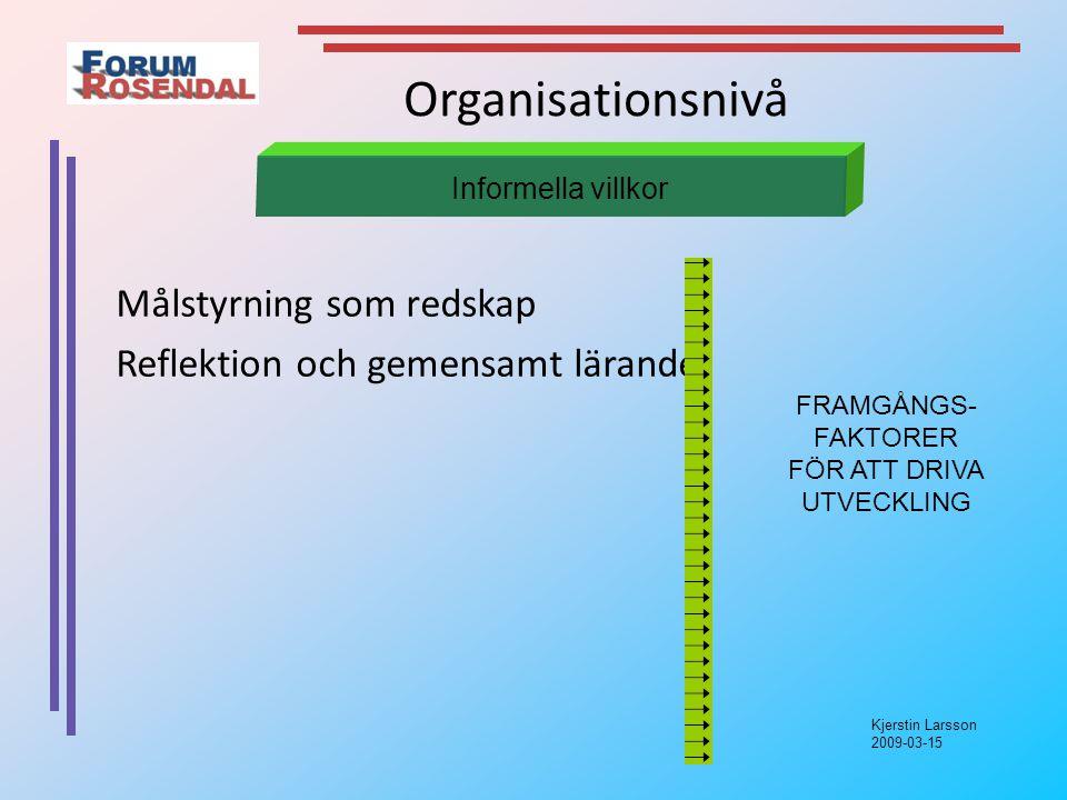 Kjerstin Larsson 2009-03-15 Organisationsnivå Målstyrning som redskap Reflektion och gemensamt lärande Informella villkor FRAMGÅNGS- FAKTORER FÖR ATT DRIVA UTVECKLING