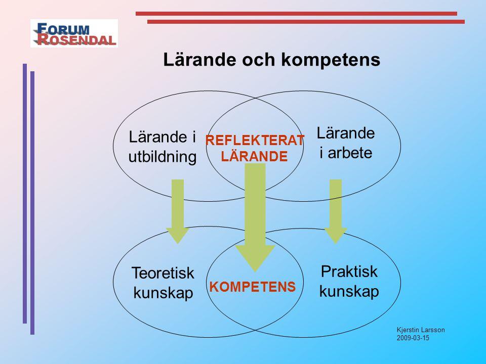 Kjerstin Larsson 2009-03-15 Teoretisk kunskap Praktisk kunskap Lärande i utbildning Lärande i arbete REFLEKTERAT LÄRANDE KOMPETENS Lärande och kompetens