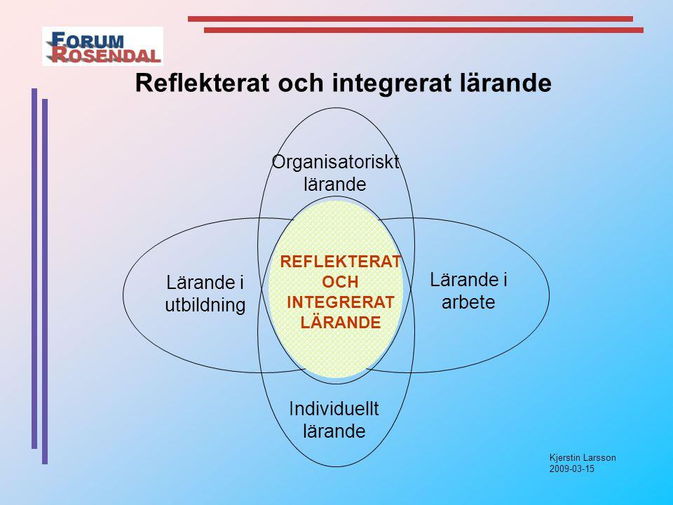 Kjerstin Larsson 2009-03-15 Lärande i utbildning Lärande i arbete REFLEKTERAT OCH INTEGRERAT LÄRANDE Organisatoriskt lärande Individuellt lärande Reflekterat och integrerat lärande
