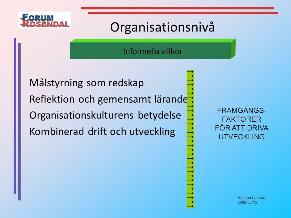Kjerstin Larsson 2009-03-15 Organisationsnivå Målstyrning som redskap Reflektion och gemensamt lärande Organisationskulturens betydelse Kombinerad drift och utveckling Informella villkor FRAMGÅNGS- FAKTORER FÖR ATT DRIVA UTVECKLING