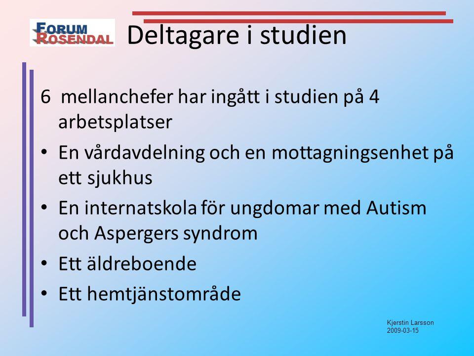 Kjerstin Larsson 2009-03-15 Deltagare i studien 6 mellanchefer har ingått i studien på 4 arbetsplatser En vårdavdelning och en mottagningsenhet på ett sjukhus En internatskola för ungdomar med Autism och Aspergers syndrom Ett äldreboende Ett hemtjänstområde
