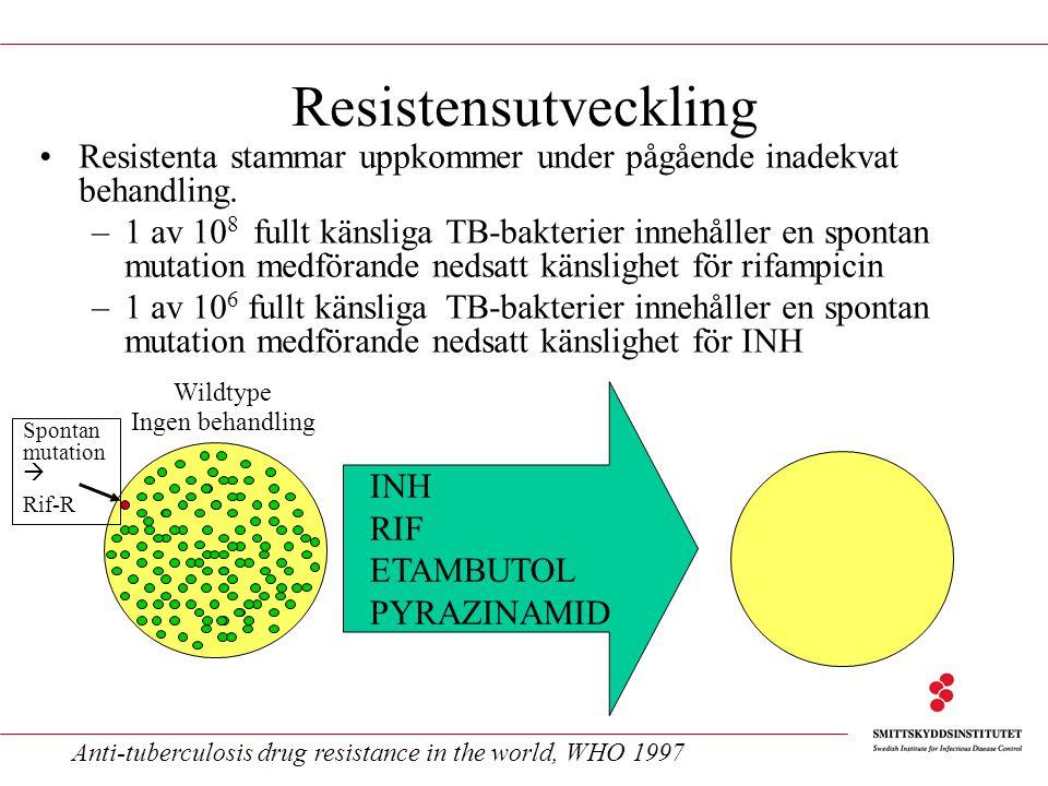 Resistensutveckling Resistenta stammar uppkommer under pågående inadekvat behandling. –1 av 10 8 fullt känsliga TB-bakterier innehåller en spontan mut