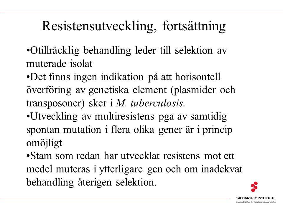 Otillräcklig behandling leder till selektion av muterade isolat Det finns ingen indikation på att horisontell överföring av genetiska element (plasmid