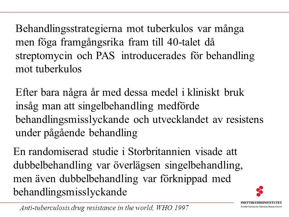 Behandlingsstrategierna mot tuberkulos var många men föga framgångsrika fram till 40-talet då streptomycin och PAS introducerades för behandling mot t