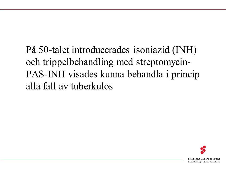 På 50-talet introducerades isoniazid (INH) och trippelbehandling med streptomycin- PAS-INH visades kunna behandla i princip alla fall av tuberkulos
