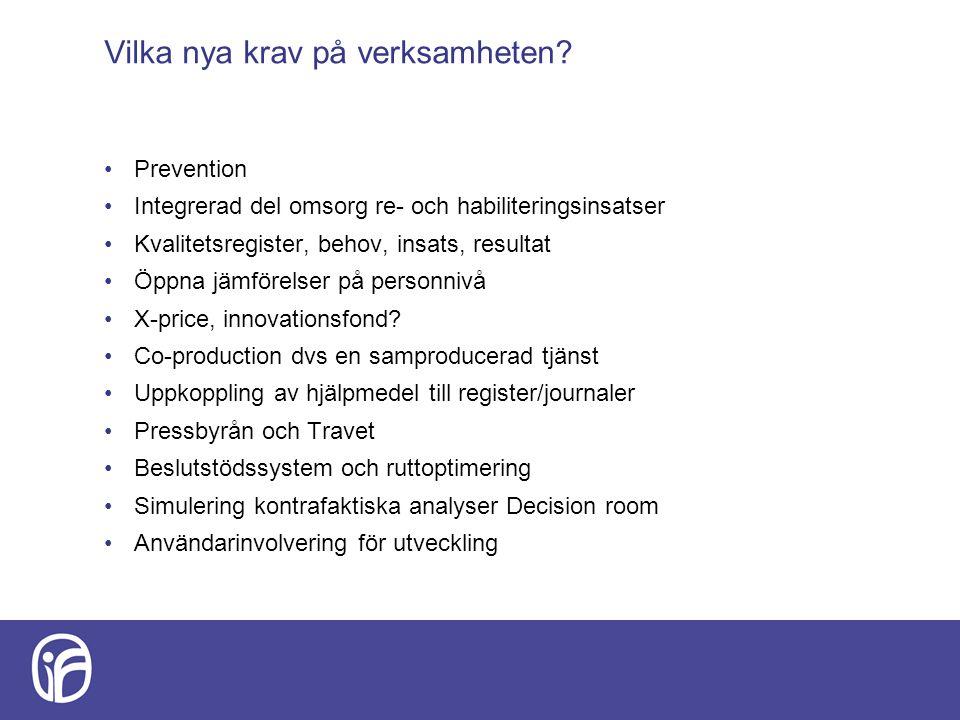 Vilka nya krav på verksamheten? Prevention Integrerad del omsorg re- och habiliteringsinsatser Kvalitetsregister, behov, insats, resultat Öppna jämför