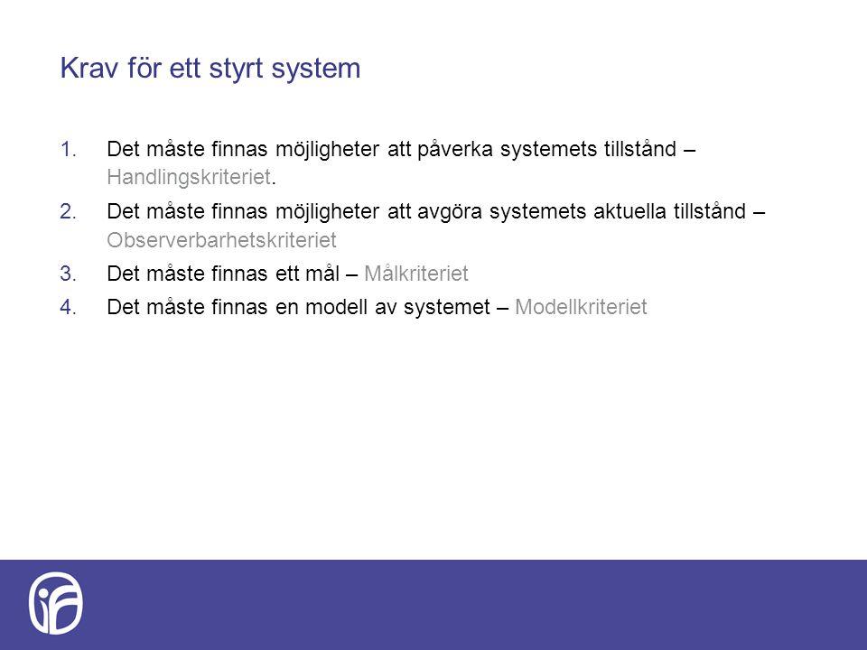 Krav för ett styrt system 1.Det måste finnas möjligheter att påverka systemets tillstånd – Handlingskriteriet. 2.Det måste finnas möjligheter att avgö