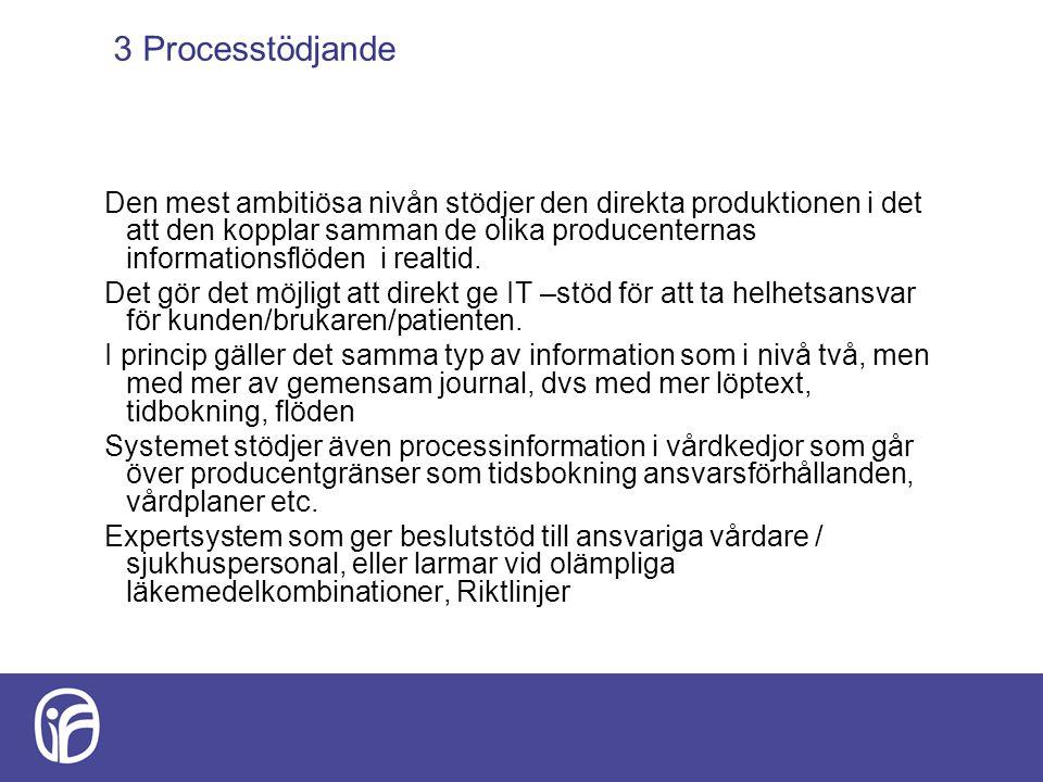 3 Processtödjande Den mest ambitiösa nivån stödjer den direkta produktionen i det att den kopplar samman de olika producenternas informationsflöden i