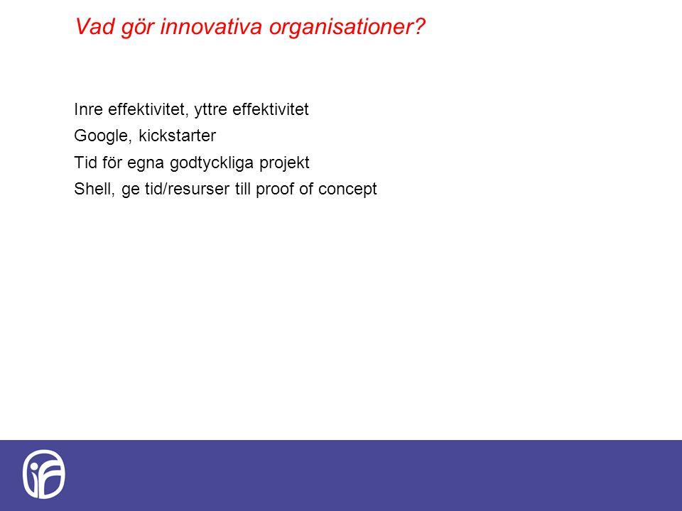 Vad gör innovativa organisationer? Inre effektivitet, yttre effektivitet Google, kickstarter Tid för egna godtyckliga projekt Shell, ge tid/resurser t