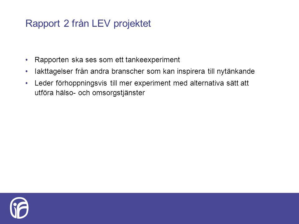 Rapport 2 från LEV projektet Rapporten ska ses som ett tankeexperiment Iakttagelser från andra branscher som kan inspirera till nytänkande Leder förho