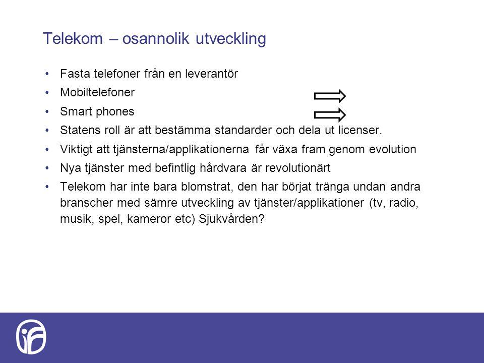 Telekom – osannolik utveckling Fasta telefoner från en leverantör Mobiltelefoner Smart phones Statens roll är att bestämma standarder och dela ut lice