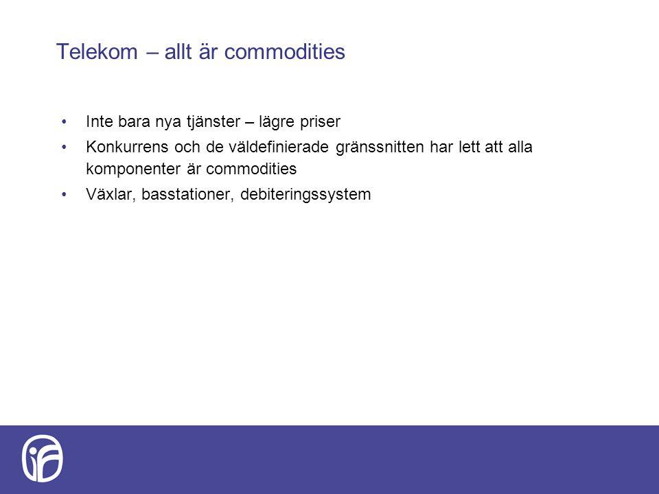 Telekom – allt är commodities Inte bara nya tjänster – lägre priser Konkurrens och de väldefinierade gränssnitten har lett att alla komponenter är com
