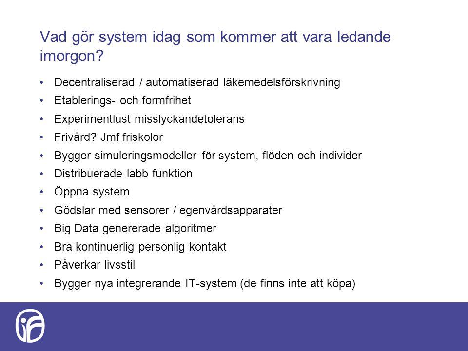 Vad gör system idag som kommer att vara ledande imorgon? Decentraliserad / automatiserad läkemedelsförskrivning Etablerings- och formfrihet Experiment