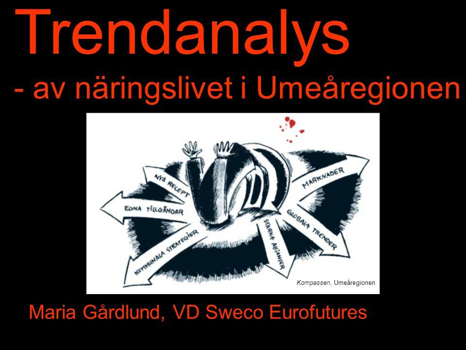 Kompassen, Umeåregionen Trendanalys - av näringslivet i Umeåregionen Maria Gårdlund, VD Sweco Eurofutures