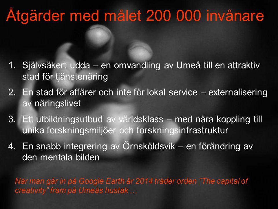 Åtgärder med målet 200 000 invånare 1.Självsäkert udda – en omvandling av Umeå till en attraktiv stad för tjänstenäring 2.En stad för affärer och inte för lokal service – externalisering av näringslivet 3.Ett utbildningsutbud av världsklass – med nära koppling till unika forskningsmiljöer och forskningsinfrastruktur 4.En snabb integrering av Örnsköldsvik – en förändring av den mentala bilden När man går in på Google Earth år 2014 träder orden The capital of creativity fram på Umeås hustak …