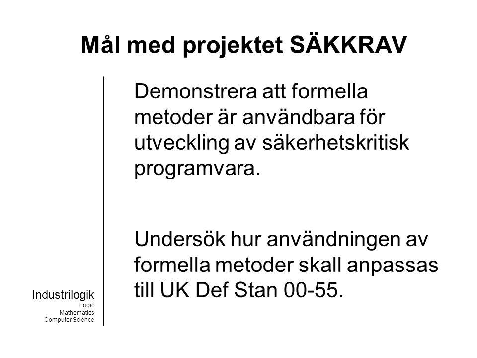 Industrilogik Logic Mathematics Computer Science Deltagare Adelard, London Saab Bofors Dynamics, Karlskoga Industrilogik L4i AB, Stockholm