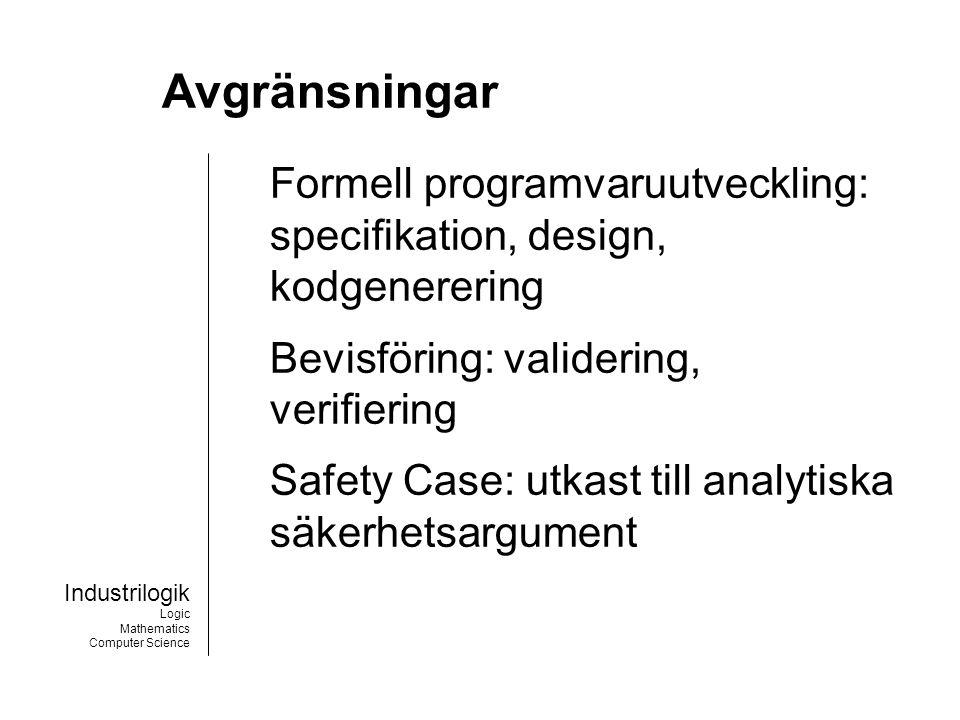 Industrilogik Logic Mathematics Computer Science B-Toolkit Verktyg för formell programvaru- utveckling i enlighet med B-Metoden.