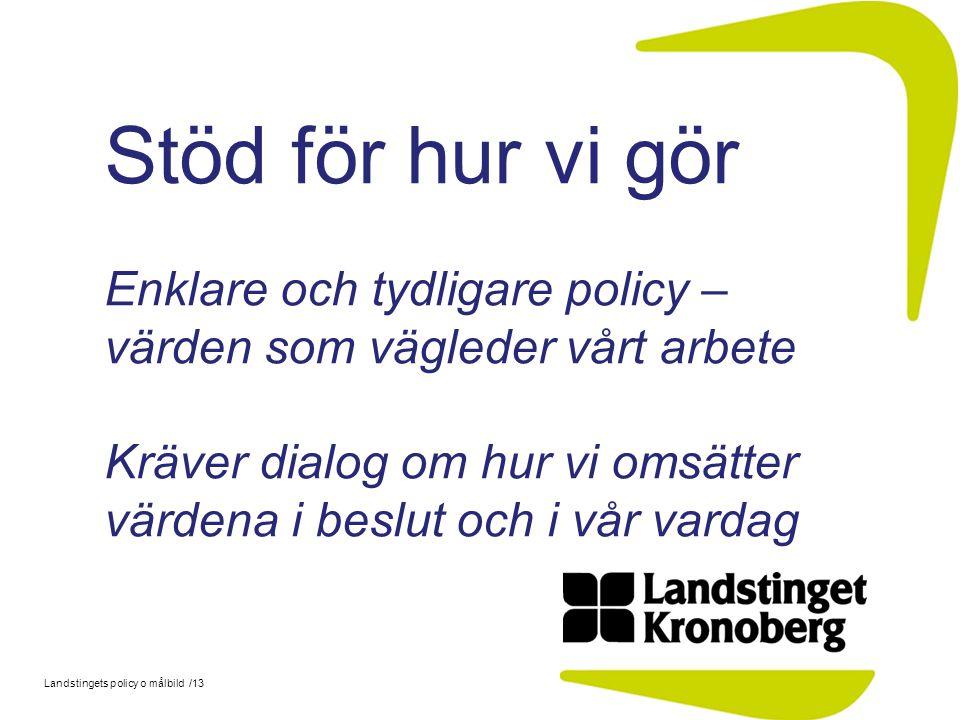 Landstingets policy o målbild /13 Stöd för hur vi gör Enklare och tydligare policy – värden som vägleder vårt arbete Kräver dialog om hur vi omsätter