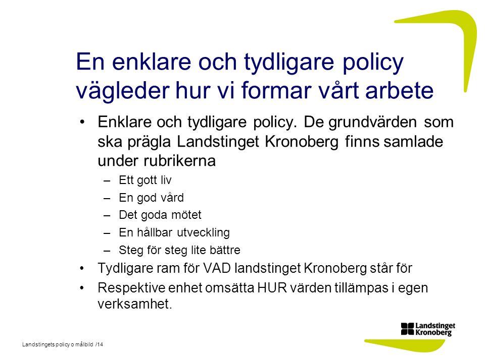 Landstingets policy o målbild /14 En enklare och tydligare policy vägleder hur vi formar vårt arbete Enklare och tydligare policy. De grundvärden som