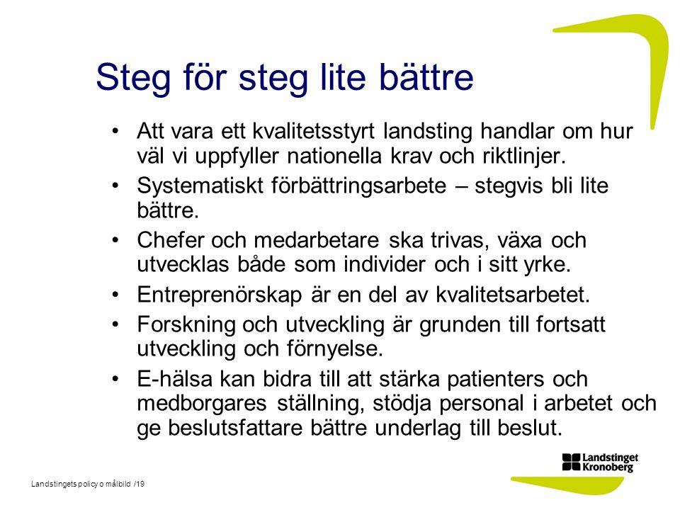 Landstingets policy o målbild /19 Steg för steg lite bättre Att vara ett kvalitetsstyrt landsting handlar om hur väl vi uppfyller nationella krav och