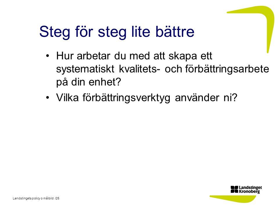 Landstingets policy o målbild /25 Steg för steg lite bättre Hur arbetar du med att skapa ett systematiskt kvalitets- och förbättringsarbete på din enh