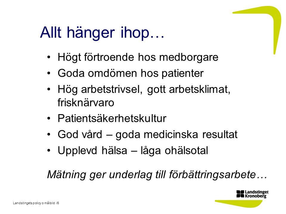 Landstingets policy o målbild /6 Allt hänger ihop… Högt förtroende hos medborgare Goda omdömen hos patienter Hög arbetstrivsel, gott arbetsklimat, fri