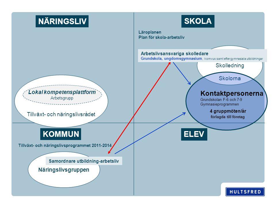Skolledning Skolorna Näringslivsgruppen NÄRINGSLIV ELEV KOMMUN SKOLA Samordnare utbildning-arbetsliv Tillväxt- och näringslivsprogrammet 2011-2014 Lär