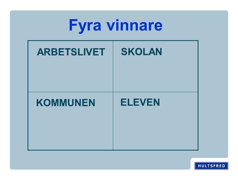 Fyra vinnare ARBETSLIVET SKOLAN KOMMUNEN ELEVEN