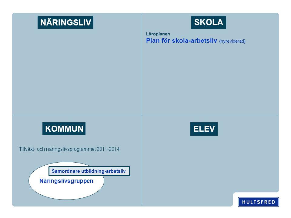 Näringslivsgruppen NÄRINGSLIV ELEV KOMMUN SKOLA Samordnare utbildning-arbetsliv Tillväxt- och näringslivsprogrammet 2011-2014 Läroplanen Plan för skola-arbetsliv (nyreviderad)