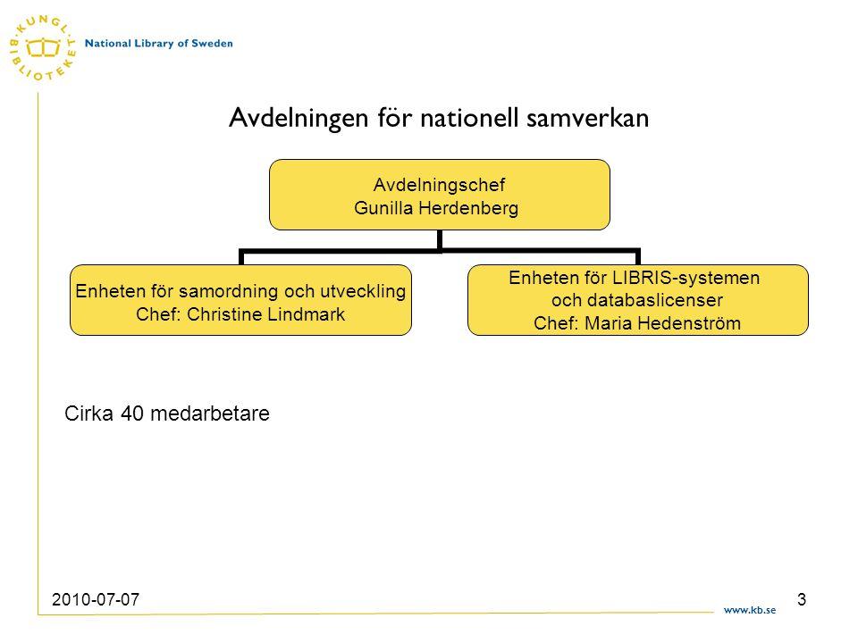 www.kb.se 2010-07-073 Avdelningen för nationell samverkan Avdelningschef Gunilla Herdenberg Enheten för samordning och utveckling Chef: Christine Lind