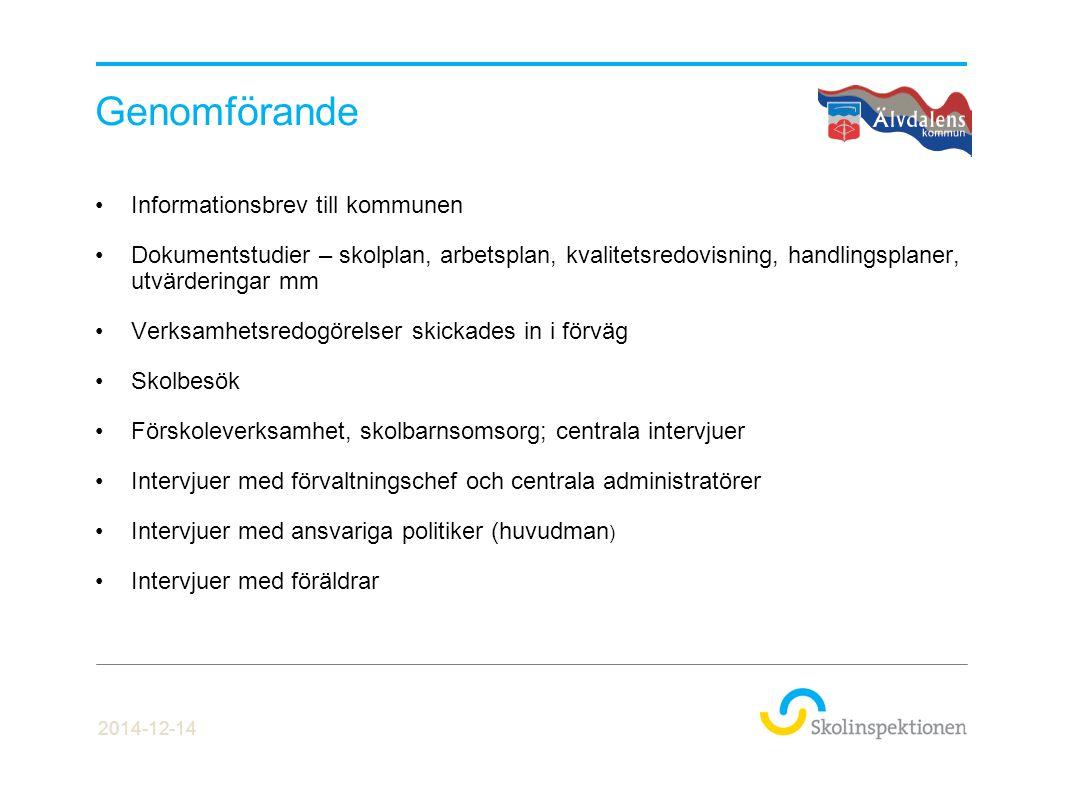 Genomförande Informationsbrev till kommunen Dokumentstudier – skolplan, arbetsplan, kvalitetsredovisning, handlingsplaner, utvärderingar mm Verksamhet