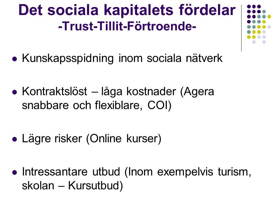 Kunskapsspidning inom sociala nätverk Kontraktslöst – låga kostnader (Agera snabbare och flexiblare, COI) Lägre risker (Online kurser) Intressantare u