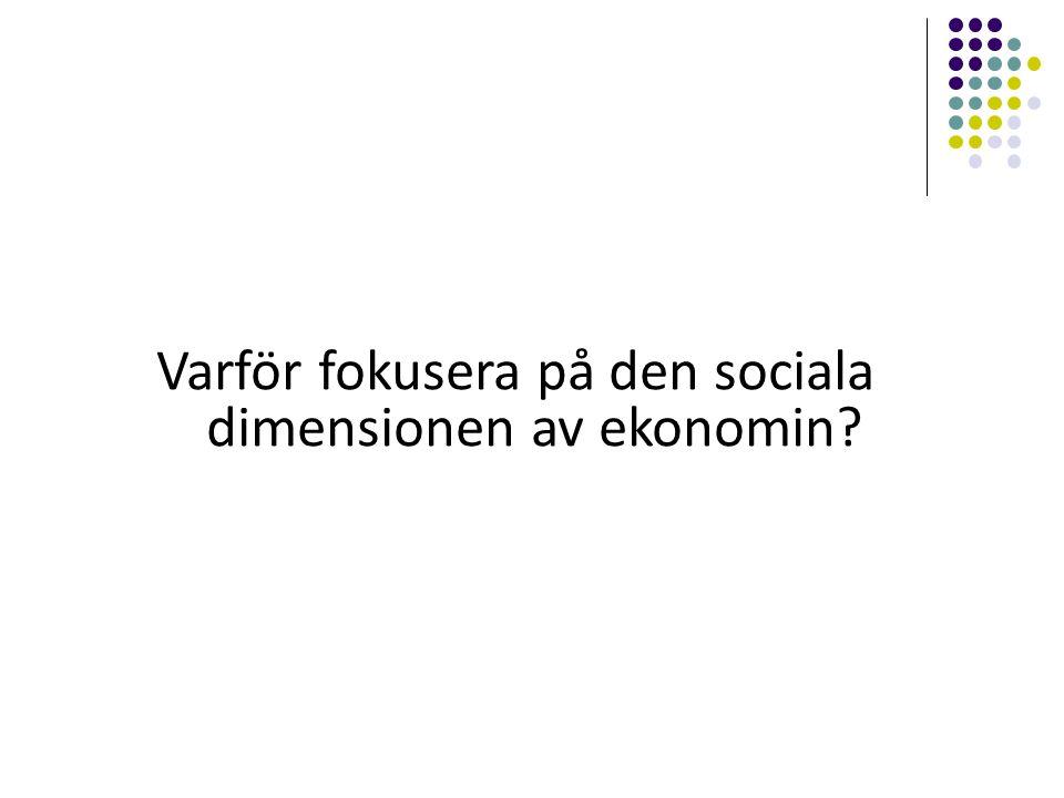 Varför fokusera på den sociala dimensionen av ekonomin