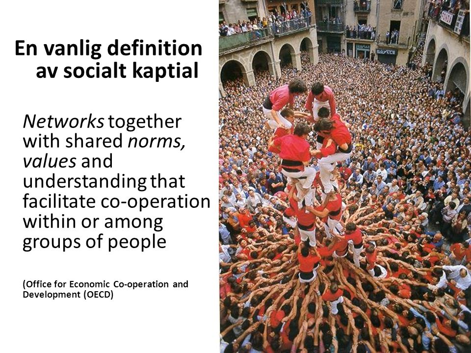 En vanlig definition av socialt kaptial Networks together with shared norms, values and understanding that facilitate co-operation within or among groups of people (Office for Economic Co-operation and Development (OECD)