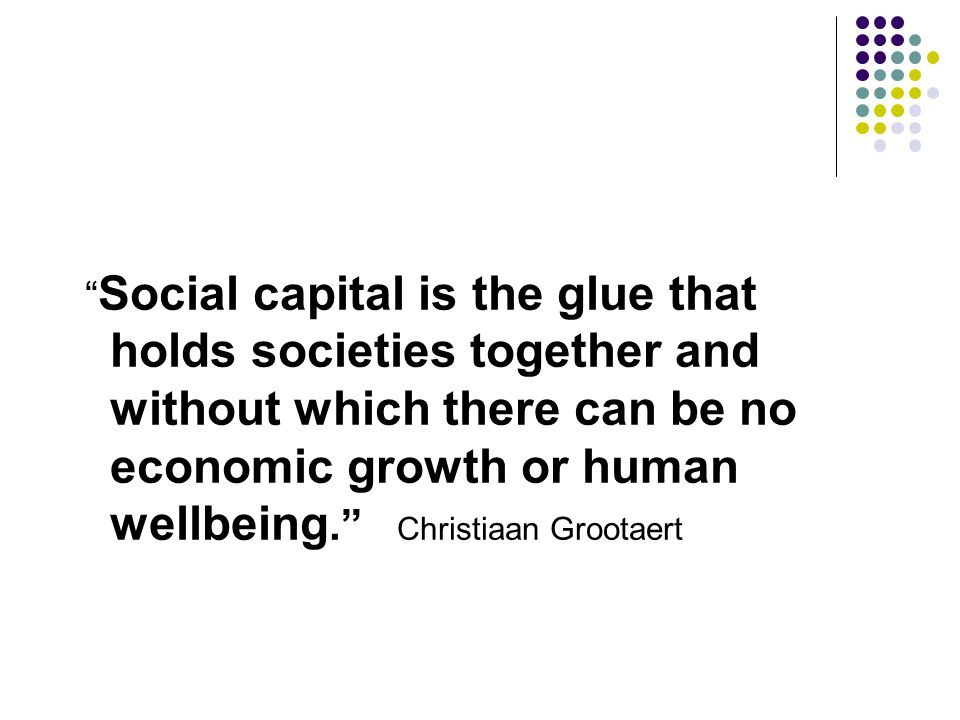 Social capital is the glue that holds societies together and without which there can be no economic growth or human wellbeing. Christiaan Grootaert