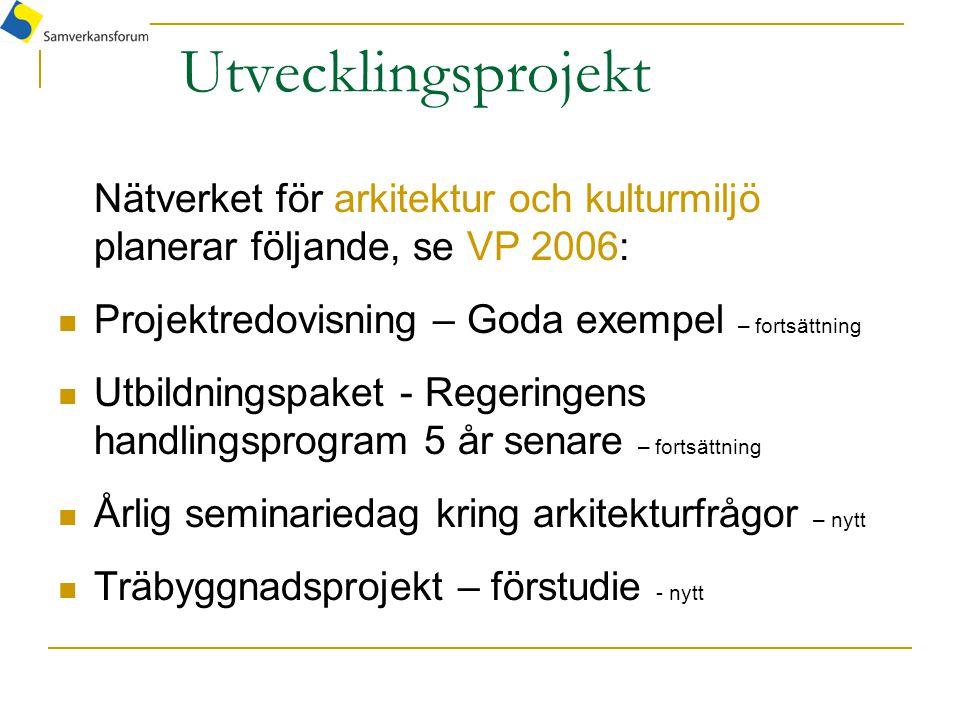 Utvecklingsprojekt Nätverket för arkitektur och kulturmiljö planerar följande, se VP 2006: Projektredovisning – Goda exempel – fortsättning Utbildning
