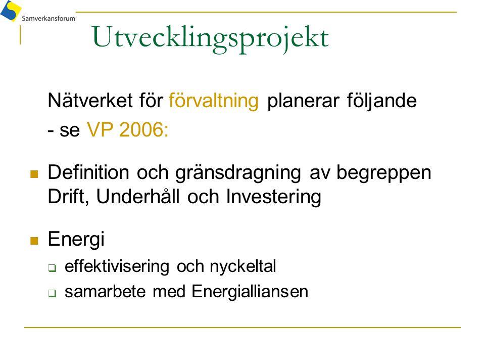 Utvecklingsprojekt Nätverket för förvaltning planerar följande - se VP 2006: Definition och gränsdragning av begreppen Drift, Underhåll och Investering Energi  effektivisering och nyckeltal  samarbete med Energialliansen