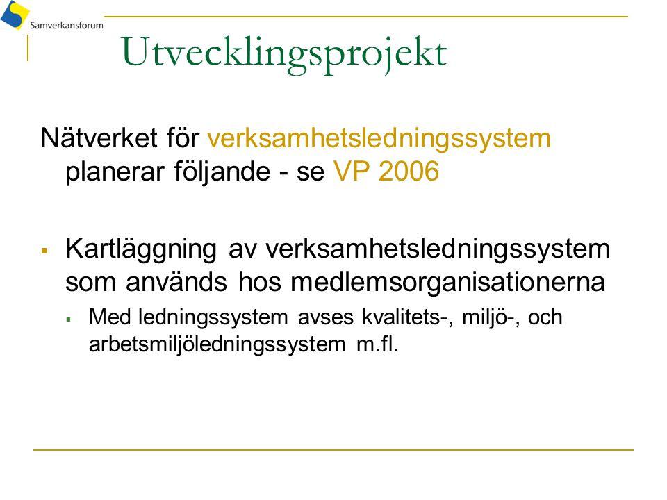 Utvecklingsprojekt Nätverket för verksamhetsledningssystem planerar följande - se VP 2006  Kartläggning av verksamhetsledningssystem som används hos medlemsorganisationerna  Med ledningssystem avses kvalitets-, miljö-, och arbetsmiljöledningssystem m.fl.