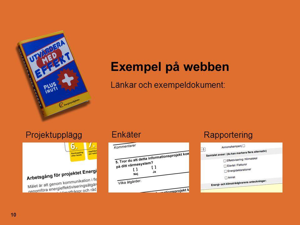 10 Exempel på webben Länkar och exempeldokument: Enkäter ProjektuppläggRapportering