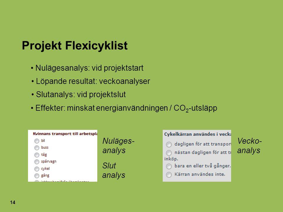 14 Projekt Flexicyklist Nuläges- analys Vecko- analys Nulägesanalys: vid projektstart Slutanalys: vid projektslut Löpande resultat: veckoanalyser Effe